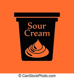 Sour cream icon. Orange background with black. Vector...
