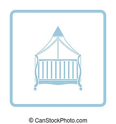 Cradle icon. Blue frame design. Vector illustration.