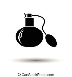 Cologne spray icon. White background with shadow design....