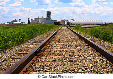 Train tracks to mine site - Train tracks leading to a potash...