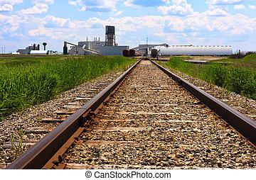 Train tracks to mine site - Train tracks leading to a potash...