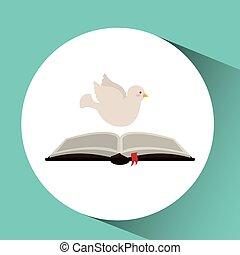 holy spirit open bible icon religion design vector...