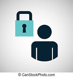 silhouette blue man padlock protection design icon vector...