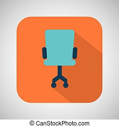 chair blue wheel blue with orange background vector...