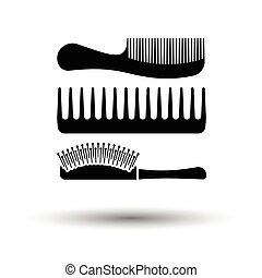 Hairbrush icon. White background with shadow design. Vector...