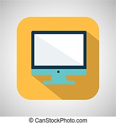 cartoon monitor computer with shadow yellow background