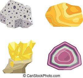 Gemstones vector stones - Collection set of semi precious...
