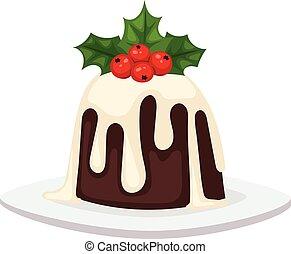 Christmas cake isolated vector icon - Sweet Christmas cake...