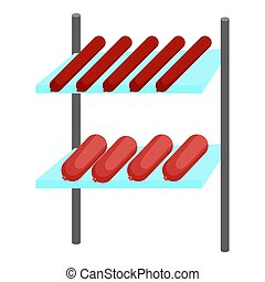 Shelves with sausages icon, cartoon style