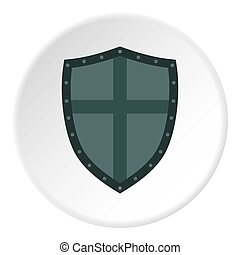 Shield with cross icon, flat style