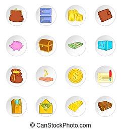 Banking icons set, cartoon style - Banking icons set....