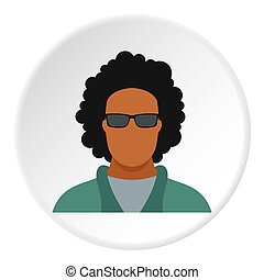Male afro avatar icon, flat style - Male afro avatar icon....
