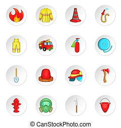 Firefighting icons set, cartoon style - Firefighting icons...