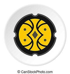 Round battle shield icon, flat style - Round battle shield...