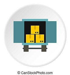 Cargo truck with load icon, flat style