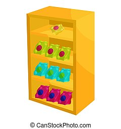 Supermarket shelf with cookies icon, cartoon style