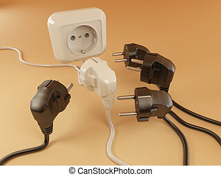 Plugs and Socket. 3d