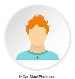 Male avatar icon, flat style - Male avatar icon. Flat...