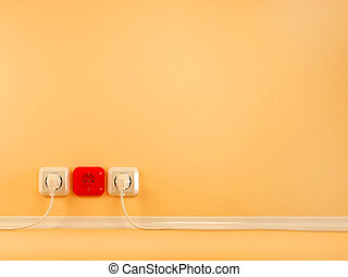 Plugs and Socket. Abstract background
