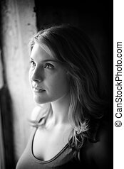 Beautiful Young Woman Shot in Black and White Window Light -...