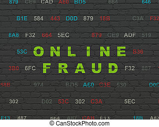 Protection concept: Online Fraud on wall background -...