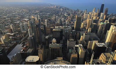 Aerial of the Chicago skyline