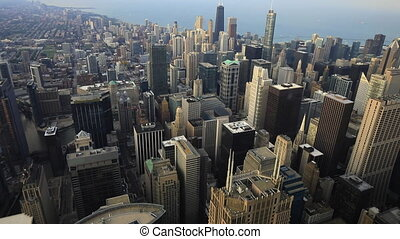 Aerial of the Chicago, Illinois skyline - An Aerial of the...