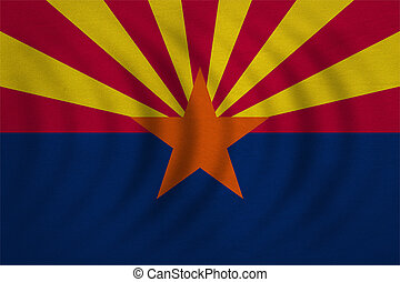 Flag of Arizona wavy detailed fabric texture - Flag of the...