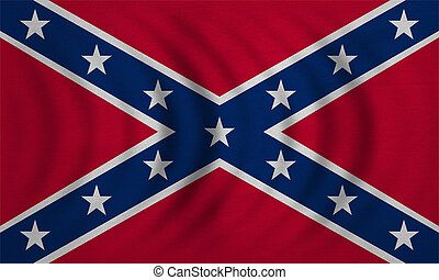 Confederate rebel flag wavy with fabric texture - Historical...