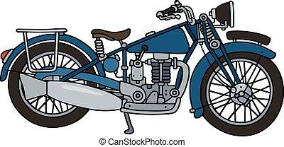 Vintage blue motorcycle