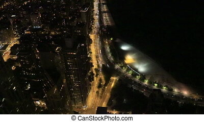 Aerial of the Chicago Lakeshore at night