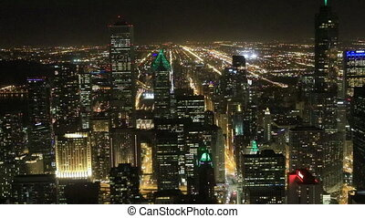 Aerial of the Chicago skyline after dark