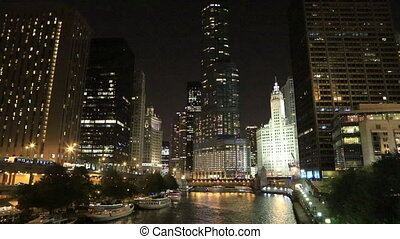 The Chicago Riverwalk at night