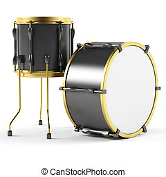 Drums on a white background.