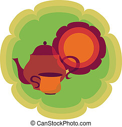 retro teapot, cup and plate on flower shape background,...
