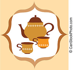 tea pot with tea and cup  on colorful background