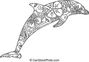 Coloring page with dolphin isolated on white background.