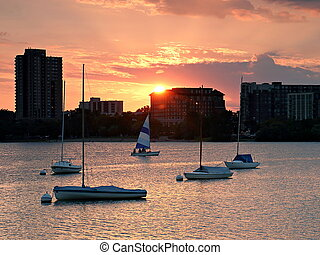 Sailboat Sunset over Lake Calhoun - The sun sets on sail...