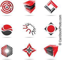 Abstract black and red Icon Set 18