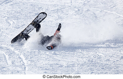 snowboarder fell in the snow