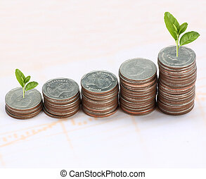 silver coin stack and treetop. - silver coin stack and...