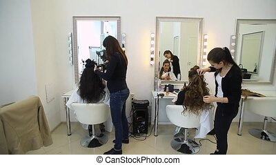 work of professionals in a hair beauty salon