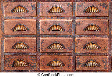old chinese medicine cabinet - close up of a old chinese...