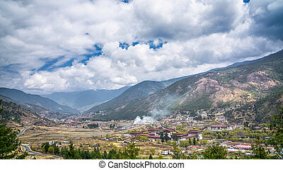 Thimphu capital city of Bhutan Valley country in the bird...