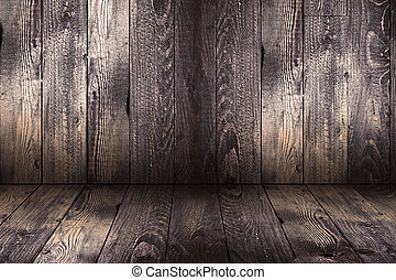 Natural Dark Wooden background. Old dirty wood tables or...