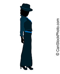 African American Female Jazz Dancer Silhouette