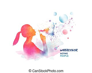 Watercolor girl blowing bubbles, silhouette of lovely girl....