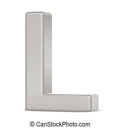 3d silver letter L