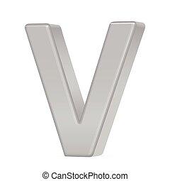 3d silver letter V