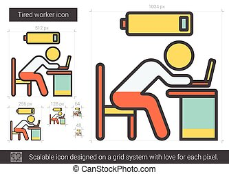Tired worker line icon. - Tired worker vector line icon...